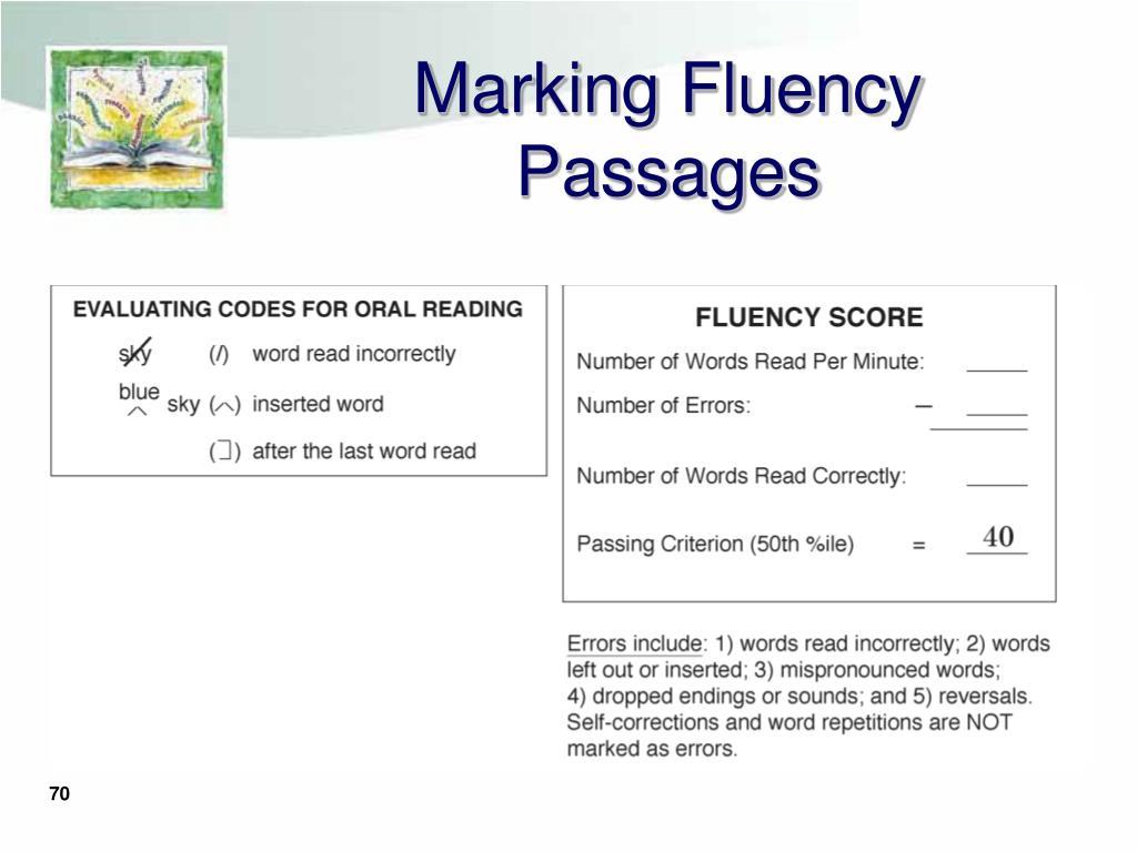 Marking Fluency Passages