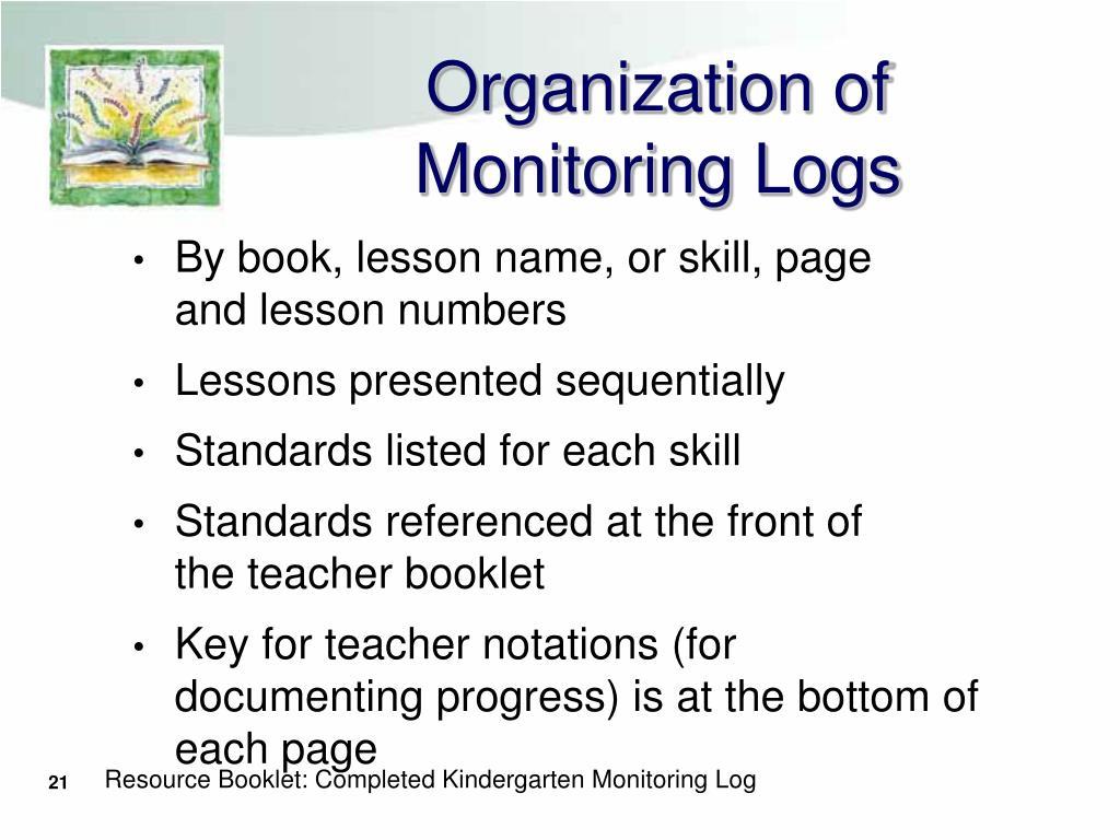 Organization of Monitoring Logs