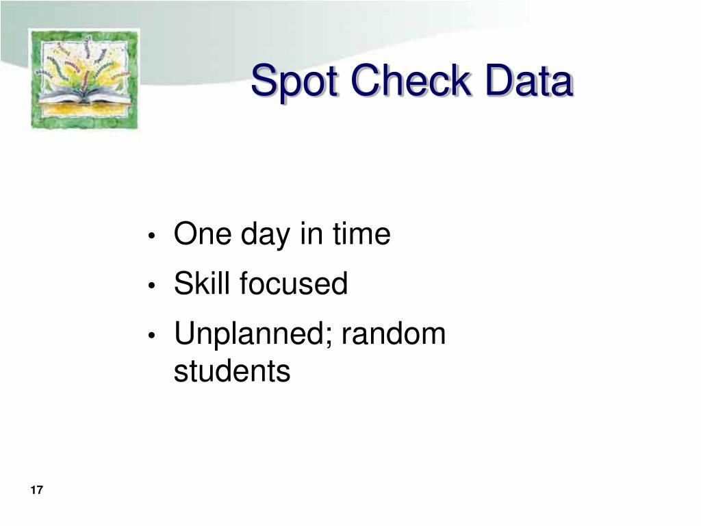 Spot Check Data