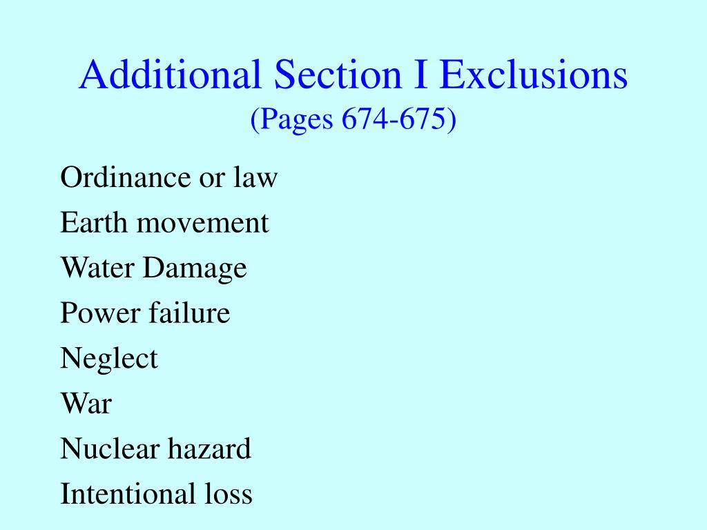 Additional Section I Exclusions
