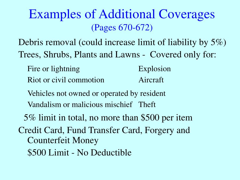 Examples of Additional Coverages
