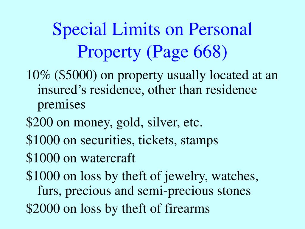 Special Limits on Personal Property (Page 668)