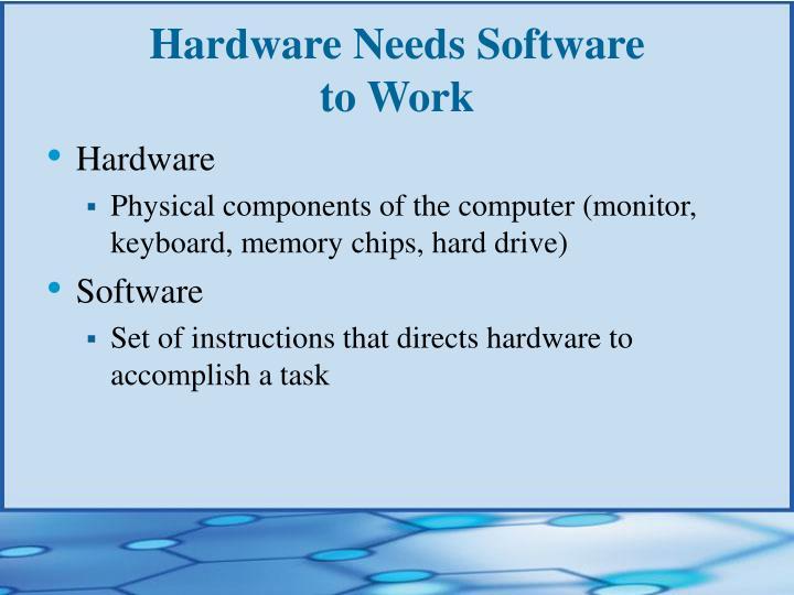 Hardware needs software to work