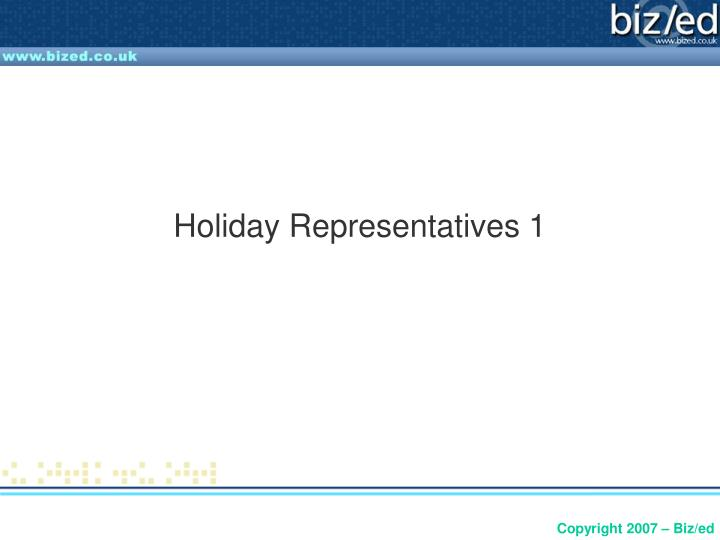 Holiday representatives 1