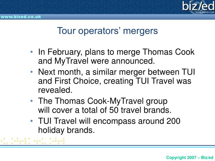 Tour operators' mergers