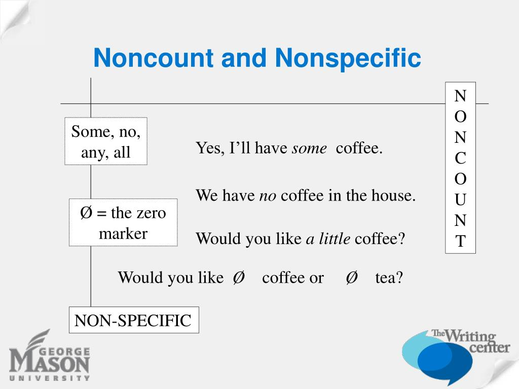 Noncount and Nonspecific