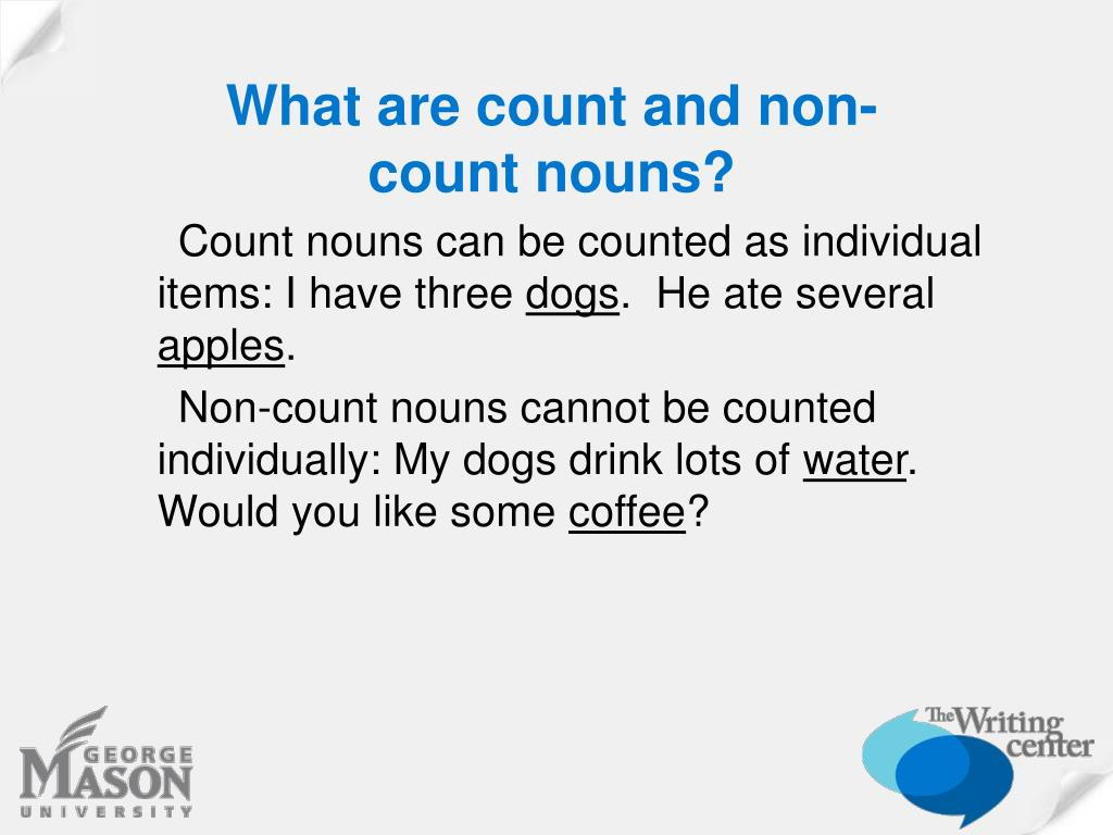 What are count and non-count nouns?