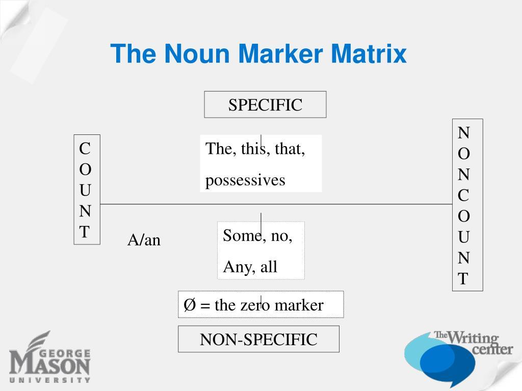 The Noun Marker Matrix