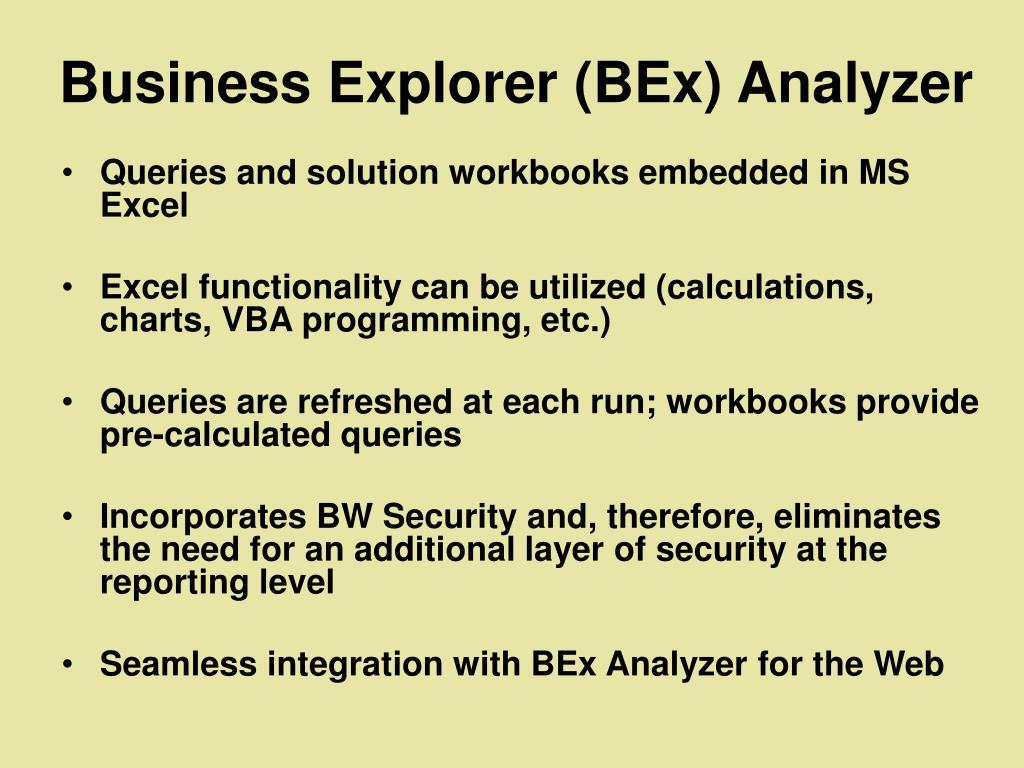Business Explorer (BEx) Analyzer