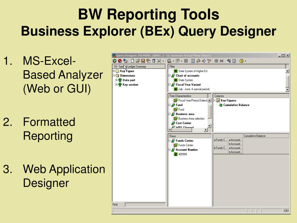 BW Reporting Tools