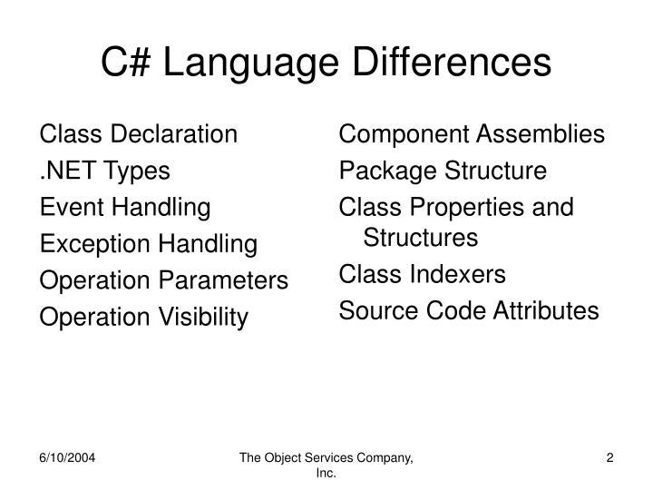 C language differences