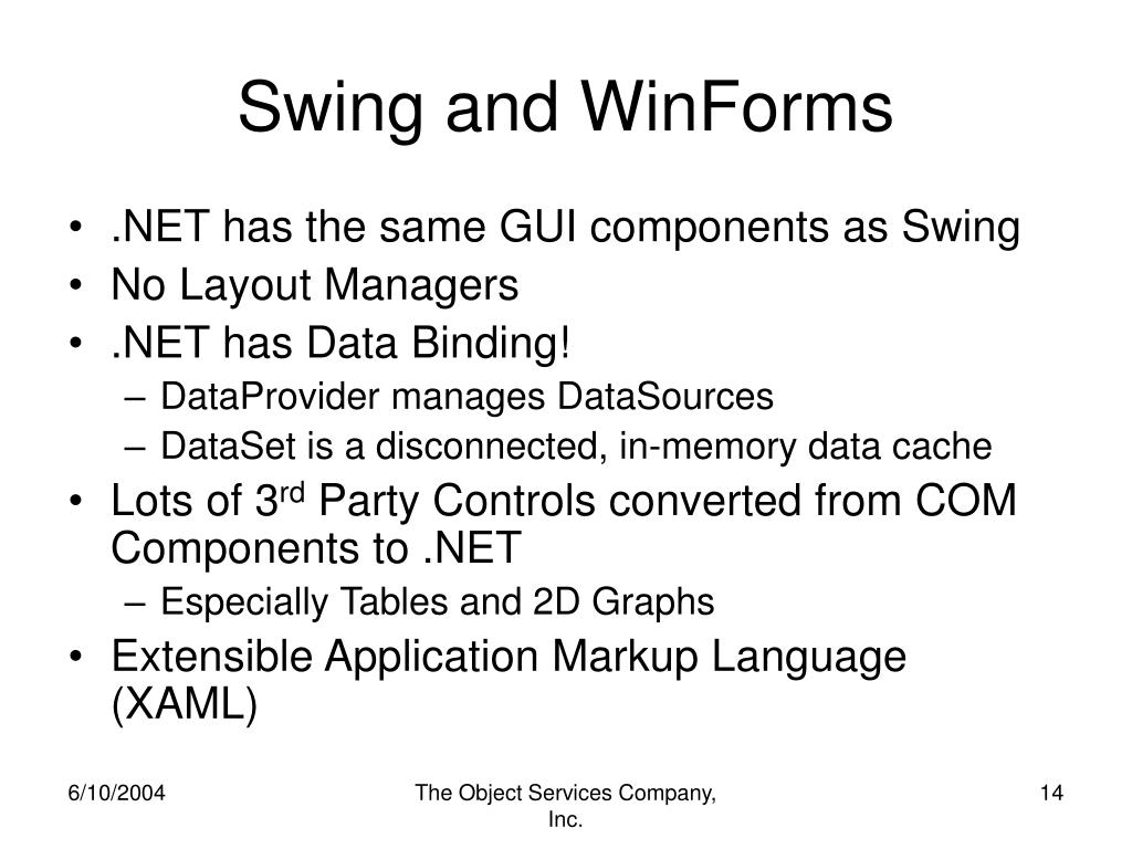 Swing and WinForms