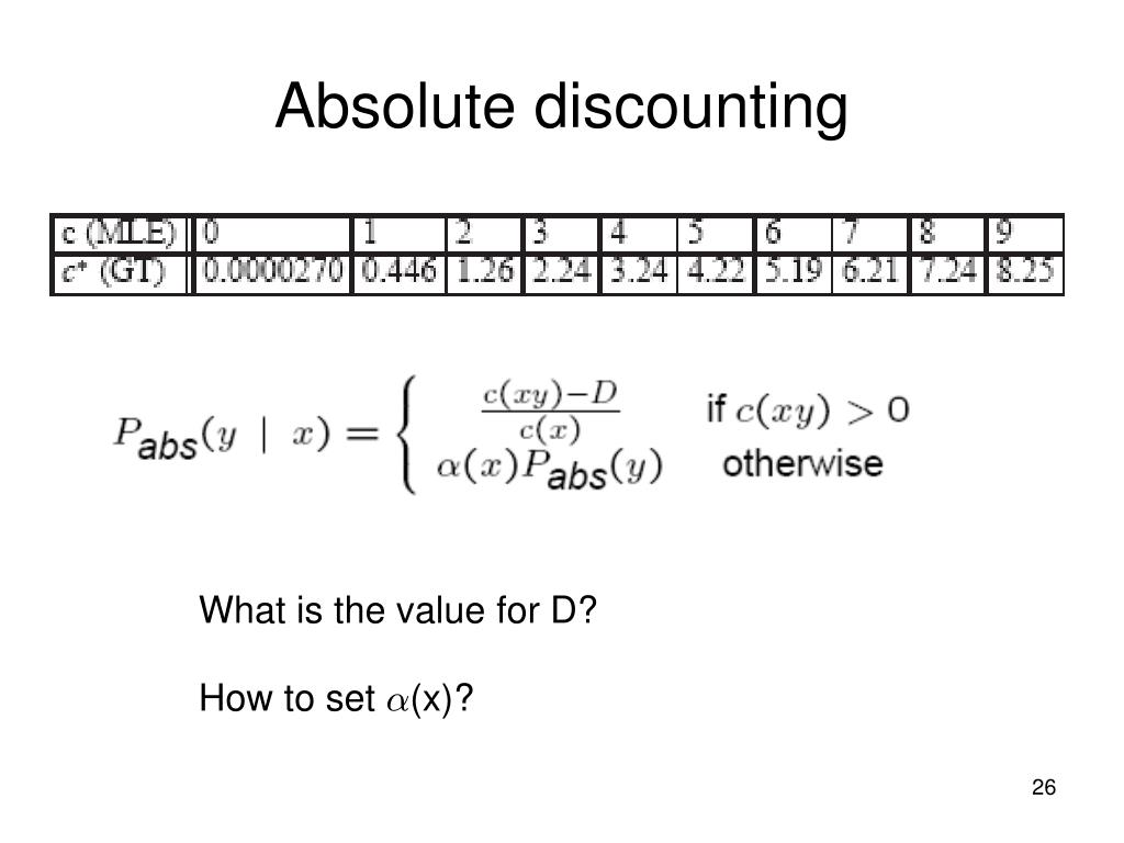 Absolute discounting
