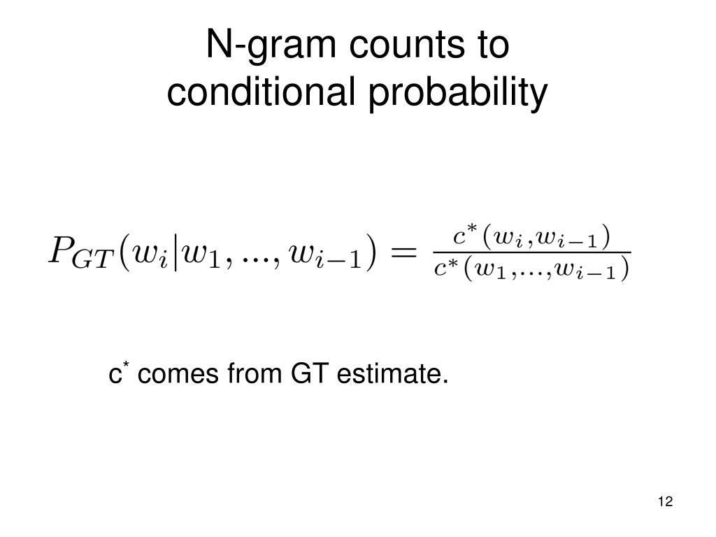 N-gram counts to