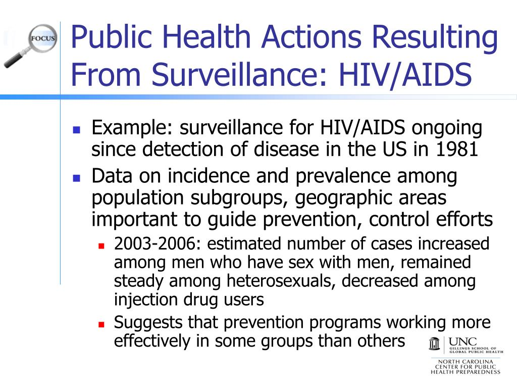 Public Health Actions Resulting From Surveillance: HIV/AIDS