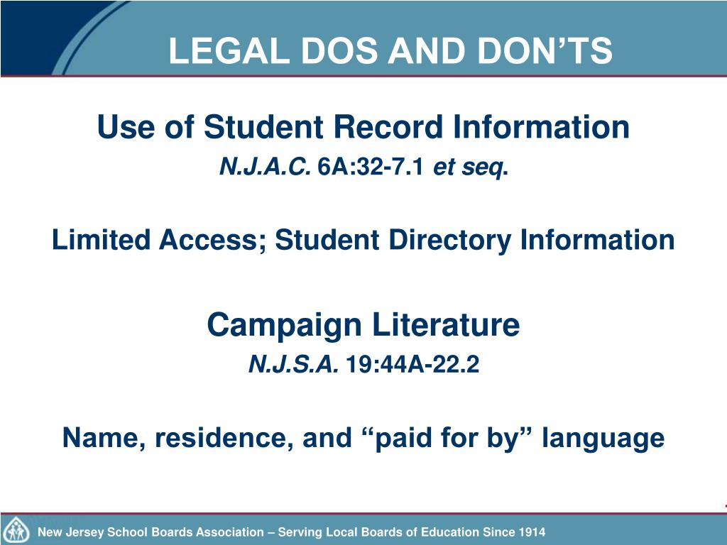 LEGAL DOS AND DON'TS