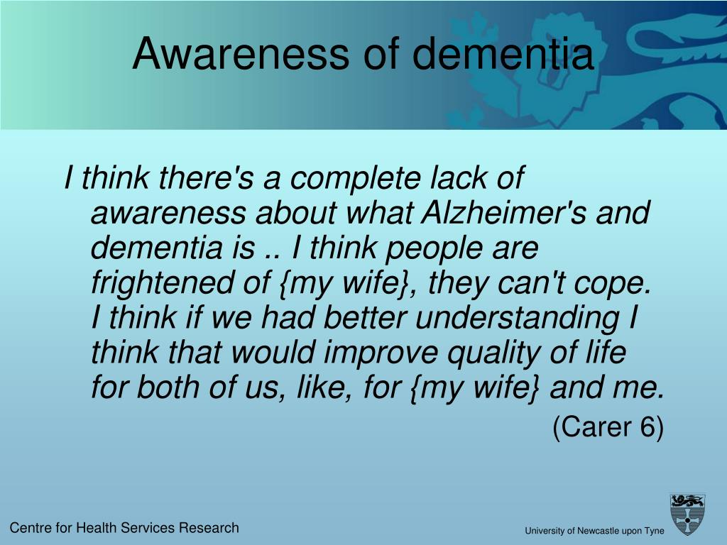 Awareness of dementia