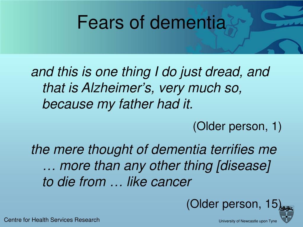 Fears of dementia