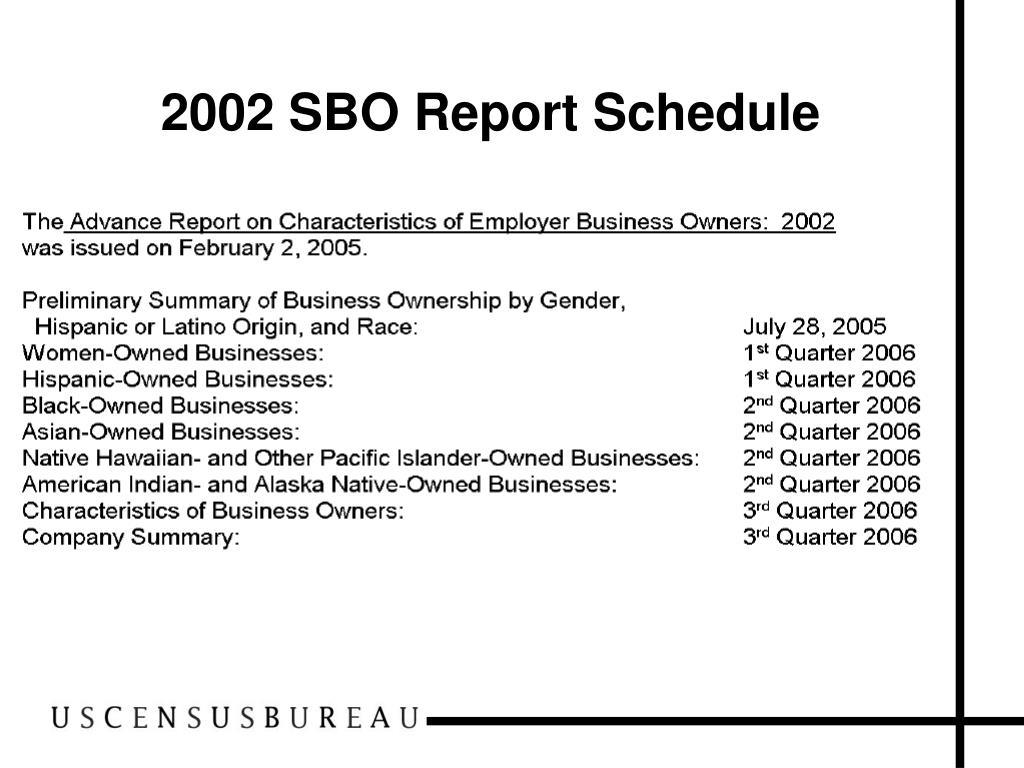 2002 SBO Report Schedule