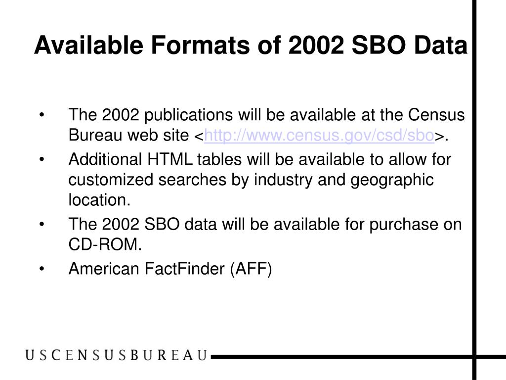 Available Formats of 2002 SBO Data