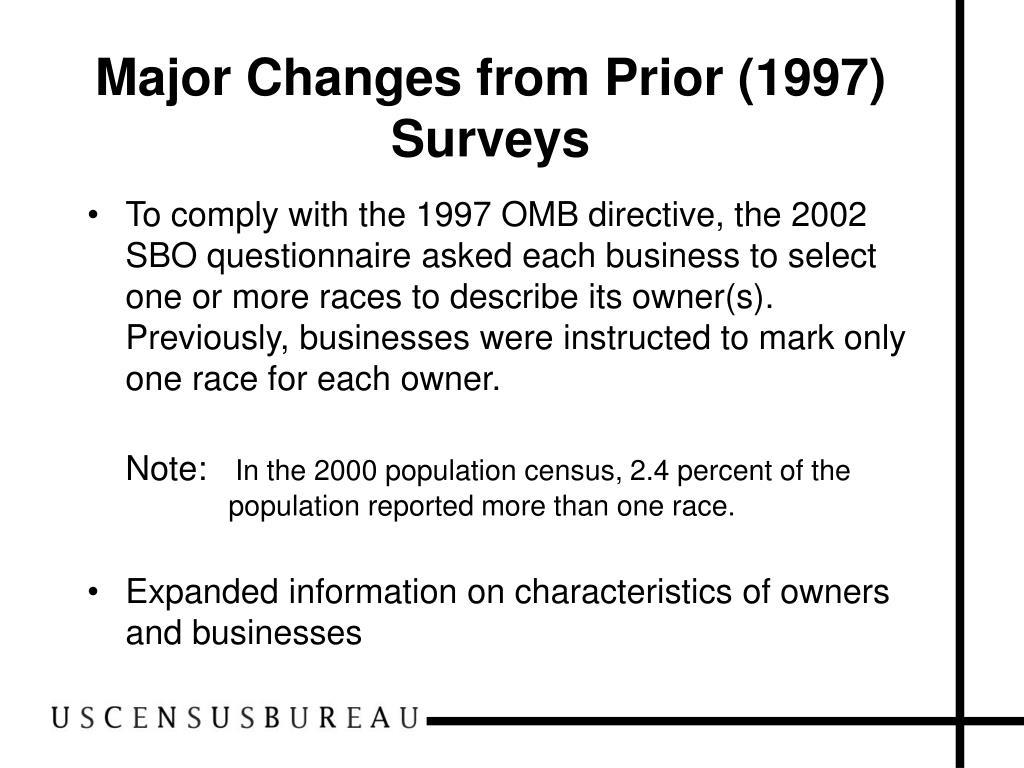 Major Changes from Prior (1997) Surveys