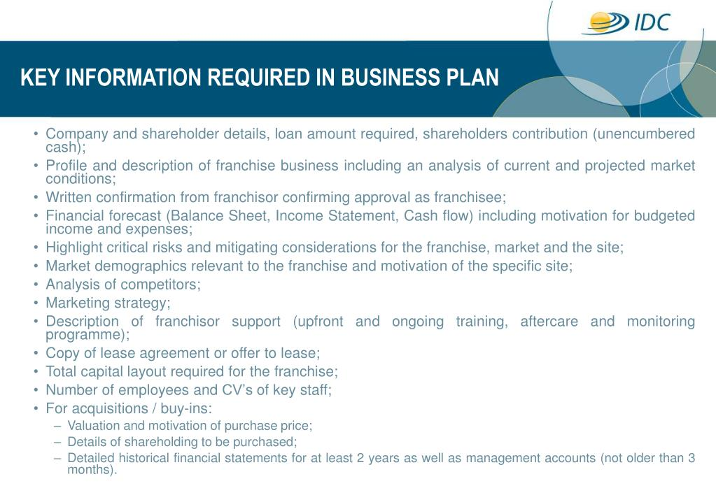 KEY INFORMATION REQUIRED IN BUSINESS PLAN