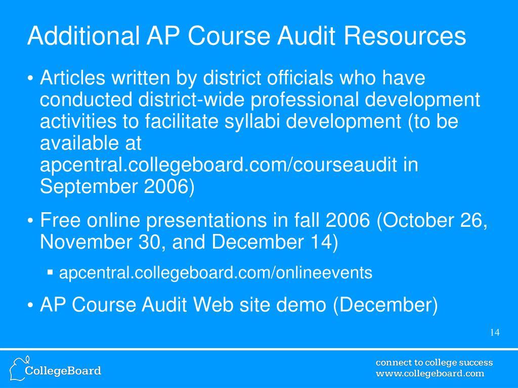 Additional AP Course Audit Resources