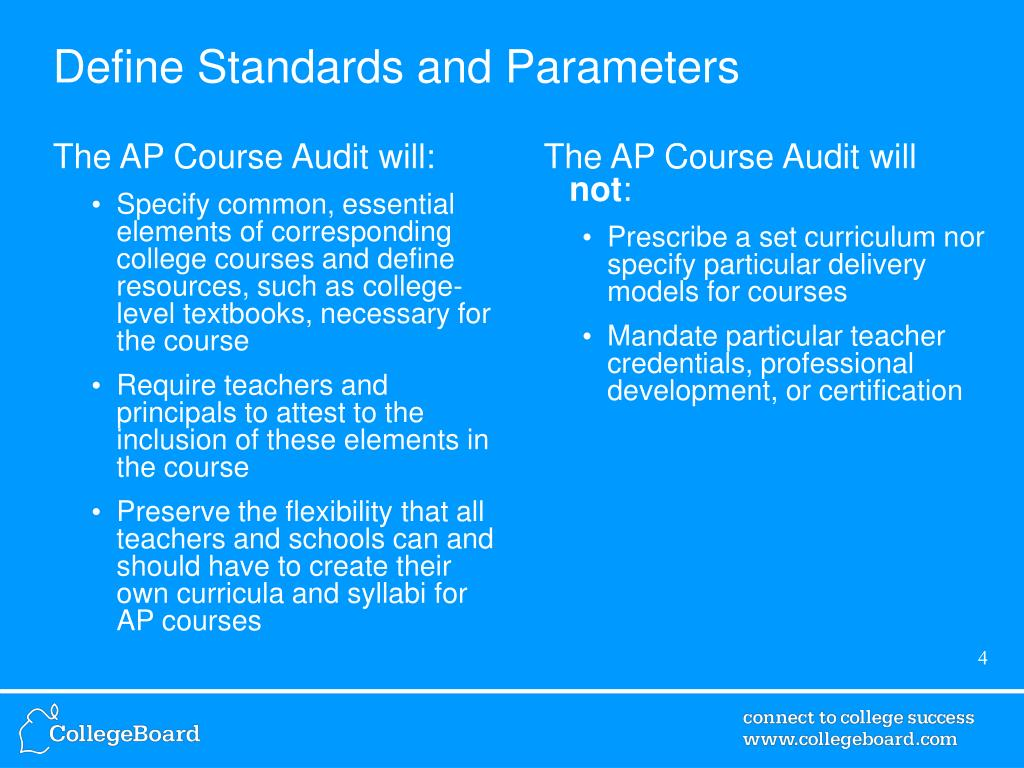 Define Standards and Parameters