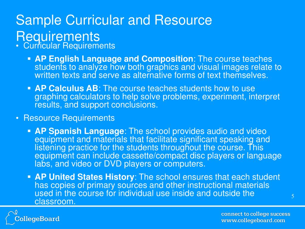 Sample Curricular and Resource Requirements