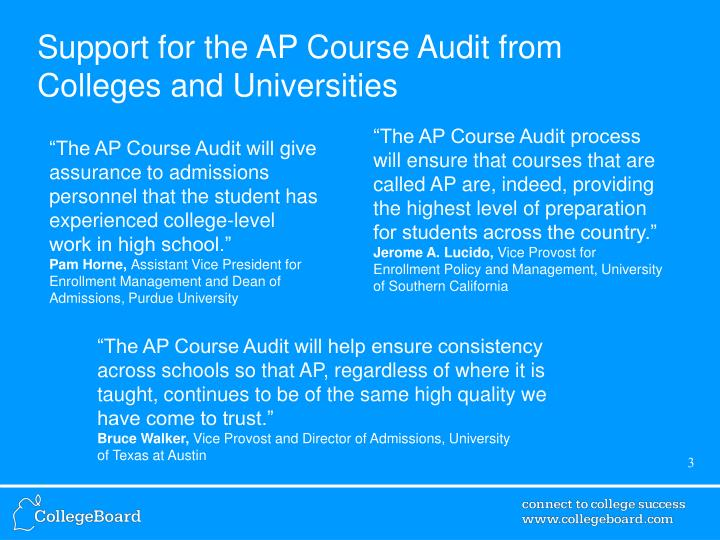 Support for the ap course audit from colleges and universities