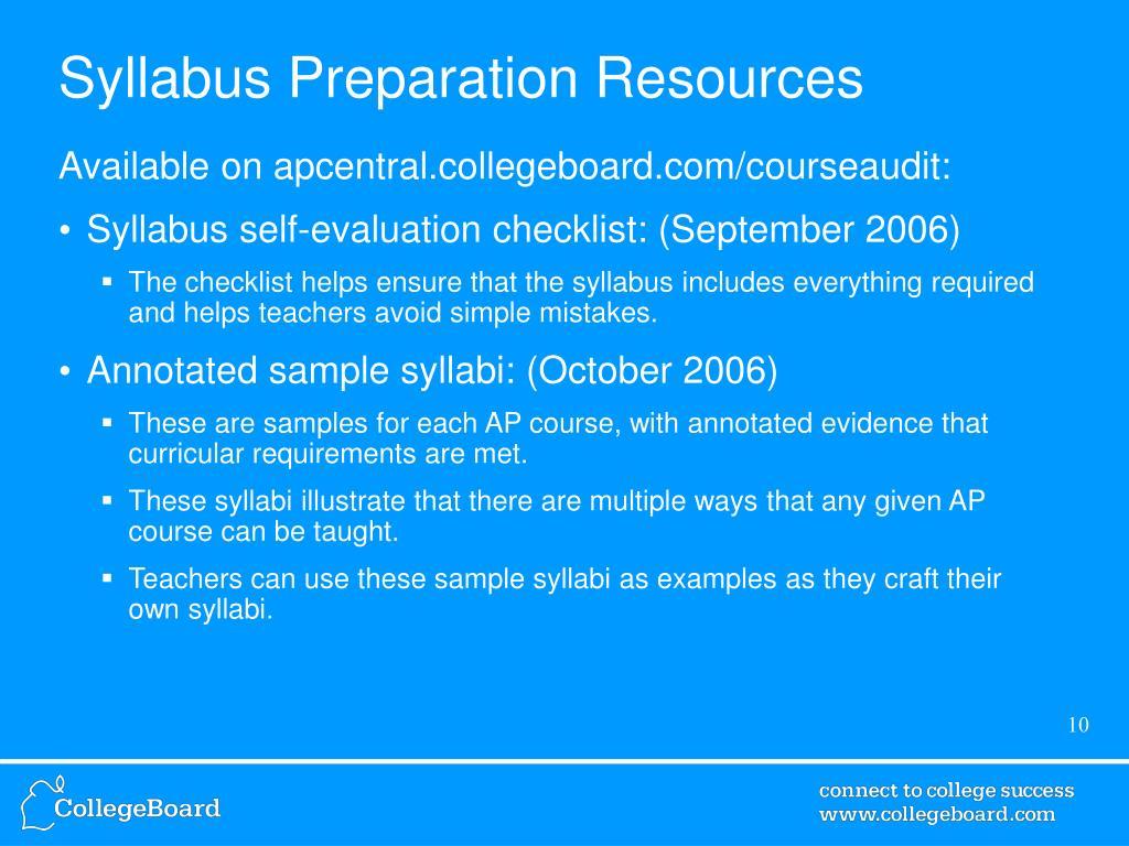 Syllabus Preparation Resources