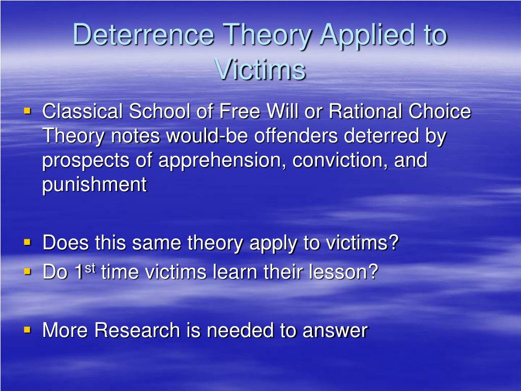 Deterrence Theory Applied to Victims