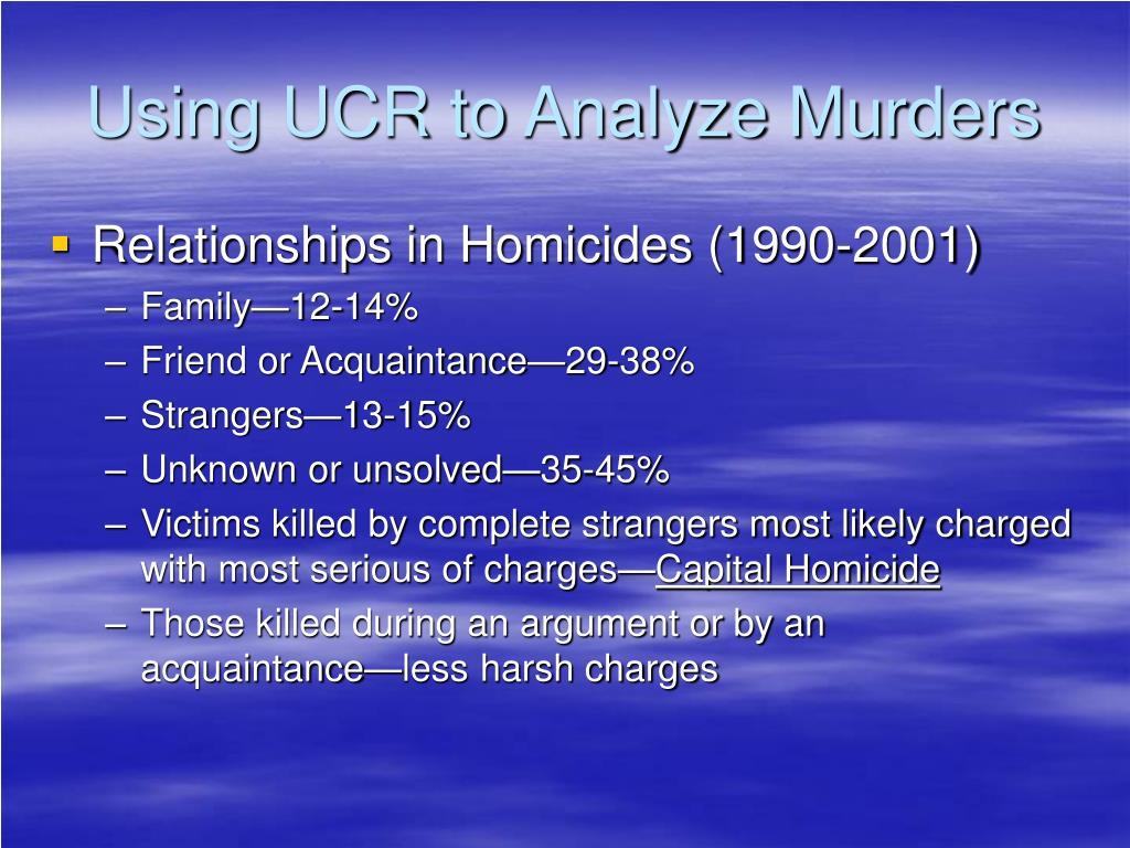 Using UCR to Analyze Murders