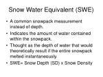 snow water equivalent swe