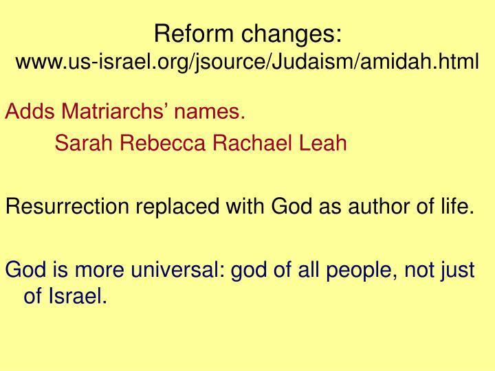 Reform changes: