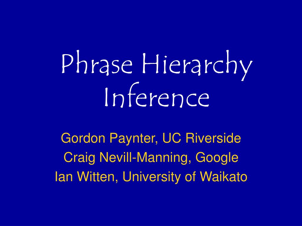 phrase hierarchy inference l.