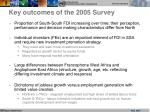 key outcomes of the 2005 survey