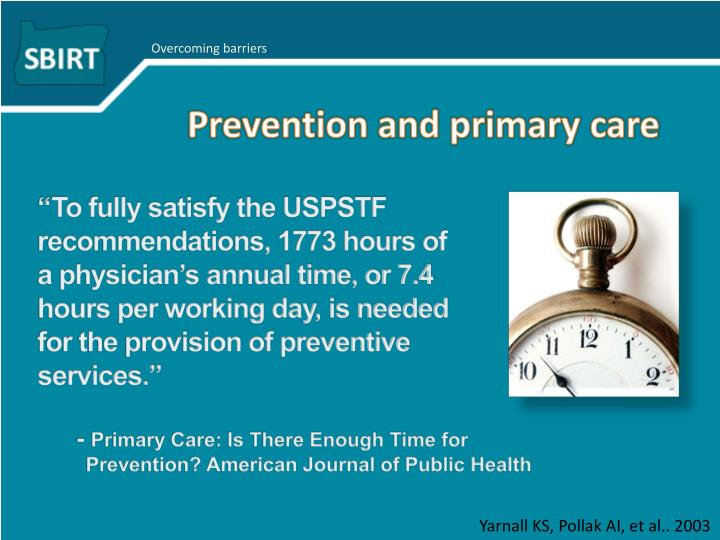Prevention and primary care