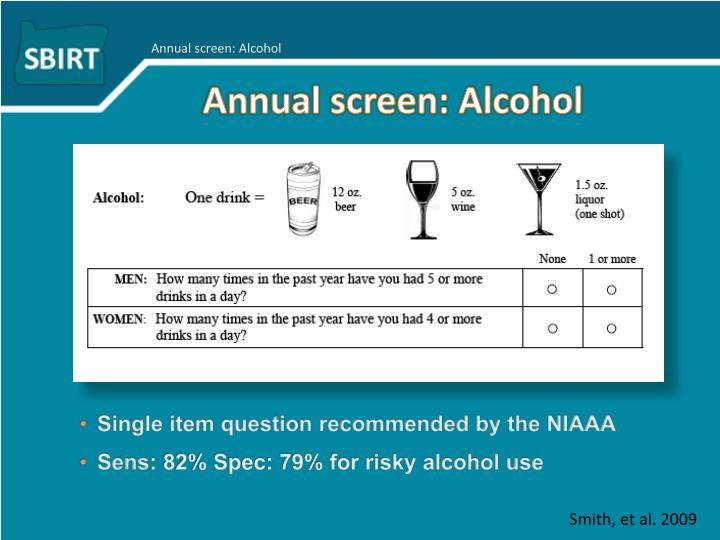 Annual screen: Alcohol