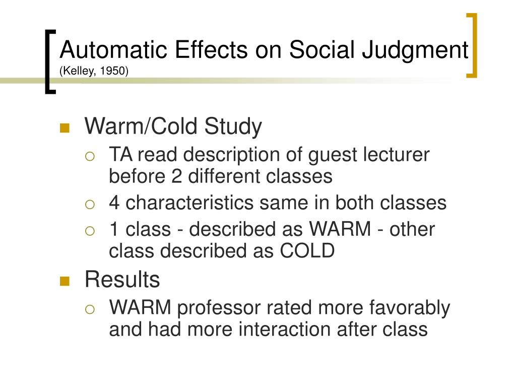 Automatic Effects on Social Judgment