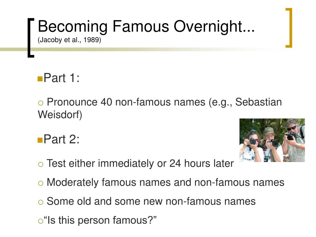 Becoming Famous Overnight...