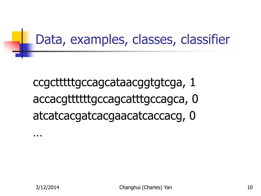 Data, examples, classes, classifier