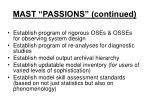 mast passions continued