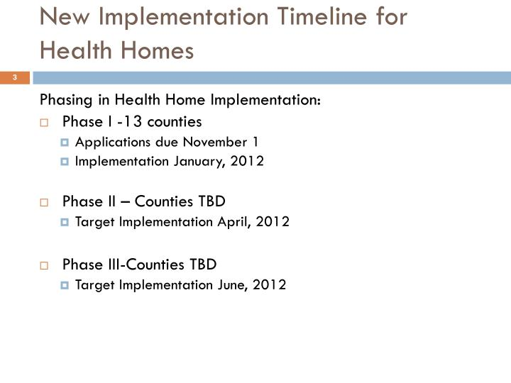 New implementation timeline for health homes