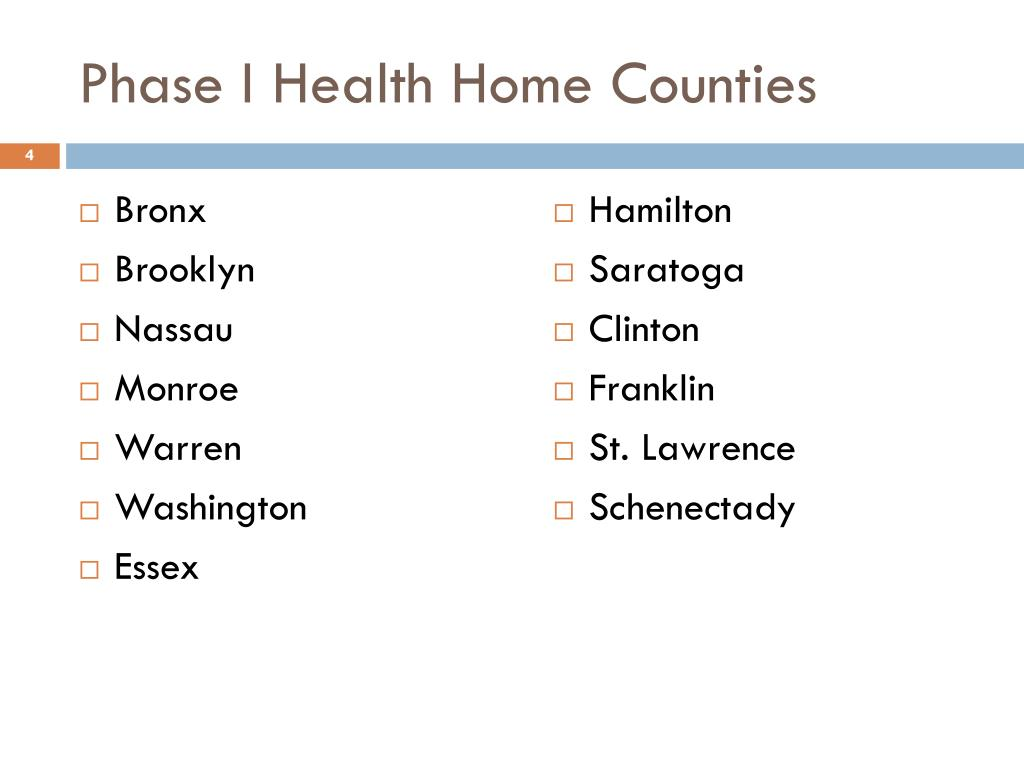Phase I Health Home Counties