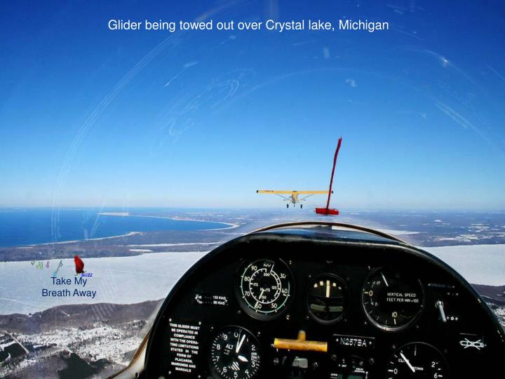 Glider being towed out over Crystal lake, Michigan