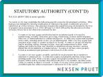 statutory authority cont d