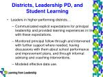 districts leadership pd and student learning