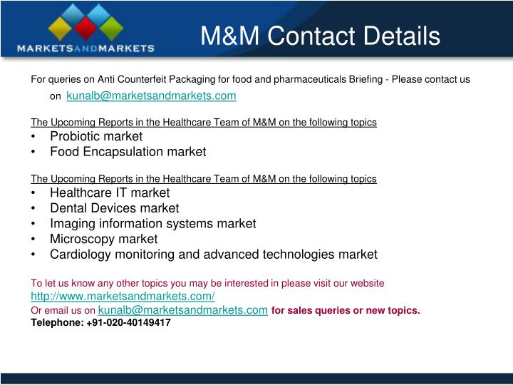 For queries on Anti Counterfeit Packaging for food and pharmaceuticals Briefing - Please contact us on