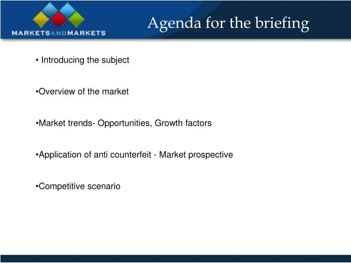 Agenda for the briefing